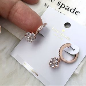 kate spade Jewelry - ♠️ Kate Spade Flower Drop Rose Huggies Earrings